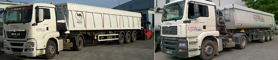 Bulk cargo transport with tipper semi-trailers